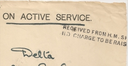 ON ACTIVE SERVICE + RECEIVED FROM H.M SH, NO CHARGE TO BE RAISON  Sur Devant. - Postmark Collection (Covers)