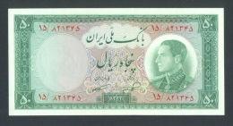 IRAN:  50 Riyals 1954 UNC-  P66  Reza Pahlavi - Iran
