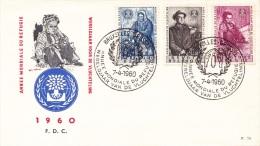 FDC N° 78 Ordi Du 7-4-1960 - COB 1125-1126-1127 - Cachet De Bruxelles - Année Mondiale Du Réfugié - 2,3€ - FDC