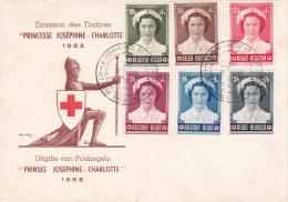 912 917 PC 9 FDC   Croix-Rouge Joséphine Charlotte Princesse 14-3-1953 Exposition Bruxelles €35 - FDC