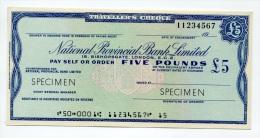 """Grande-Bretagne Great Britain 5 Pounds """"""""CHEQUE De VOYAGE """" UNC TRAVELLERS CHEQUE """""""" SPECIMEN National Provincial Bank - Groot-Brittanië"""