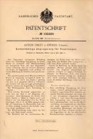 Original Patentschrift - Anton Firley In Eperjes / Prešov, 1898 , Zugregelung Für Feuerung , Heizung , Hungary , Ungarn - Maschinen