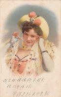 Junge Hüsche Frau Mit Schleier, Hut Und Offenen Dekoltee, Glitzer-Karte Gelaufen 1905? - Frauen