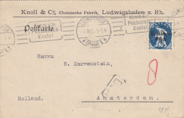 INFLA: DR 128 EF, Auslands-Karte Mit Gelegenheits-Stempel (Filbrandt 2.1ay): Ludwigshafen Postscheckkonto 1.IV.1921 - Infla