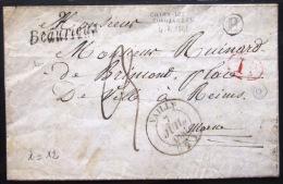 CURSIVE DE BEAURIEUX  --  AISNE  --  1841  --  INDICE 13 - Marcophilie (Lettres)