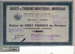 ACTION  Société Des TERRAINS INDUSTRIELS A MARSEILLE 1912 PROVENCE - Industrie