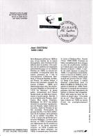 Notice Philatélique 1er Jour  Personnages Célèbres. Écrivains Français. Jean Cocteau - YT 2801 - France 1993 - Documenti Della Posta