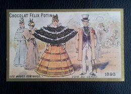 Ancien Chromo Bordure Doree - Chocolat Félix Potin - Les Modes Comiques 1893 - Mode , Femme Homme - Non Classés