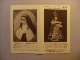 """Calendario/calendarietto Santino """"Auguri Di Anno Felice 1938"""" S. Teresa - Aurora Del Ss. Sacramento E La Rosa Di Lisieux - Calendari"""