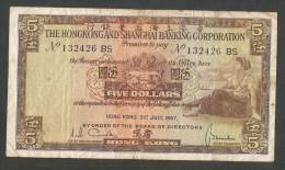 [NC] HONG KONG - SHANGHAI BANKING CORPORATION - 5 DOLLARS (1967) - Hong Kong