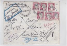 MARIANNE DECARIS - 1965 - ENVELOPPE PNEUMATIQUE De PARIS - TAXE - INCONNU => REBUTS - 1961-....
