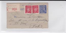 1941 - CARTE-LETTRE ENTIER RECOMMANDEE TYPE MERCURE + COMPLEMENT PETAIN RARE AVEC CIRCUIT POSTAL De LE ROUGET (CANTAL) - Entiers Postaux