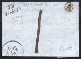 CURSIVE DE MEREVILLE  --  SEINE   --  1852  --  INDICE 10 - Marcofilia (sobres)