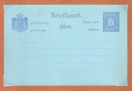 NED.INDIE PWS BRIEFKAART  5 CT CIJFER BLAUW ONGEBRUIKT - Indes Néerlandaises