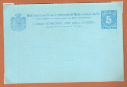 NED.INDIE PWS BRIEFKAART MET BETAALD ANTWOORD 5 CT CIJFER BLAUW ONGEBRUIKT - Indes Néerlandaises