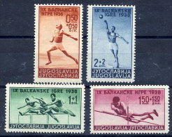 YUGOSLAVIA 1938 Balkan Games Set LHM / *.  Michel 362-65 - 1931-1941 Kingdom Of Yugoslavia