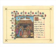 Carte Double De Voeux. Crèche. Dorée. Mediatrix 9/12 Cm - Christmas