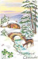 Mignonnette. Bonne Année. Biches, Forêt Enneigée, Ferme, Pont, Trèfles. Paillettes. Signée JUB. 1958. 7/11 Cm - Año Nuevo