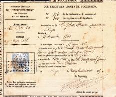 1864 - Timbre Fiscal Impérial Sur Quittance Des Droits De Succession - Fiscaux