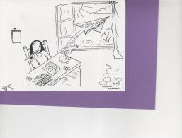 DESSIN CLARISSES HAUBOURDIN - JOYEUX ANNIVERSAIRE -  DOUBLE CARTE N/B N° 67 - Autres Collections