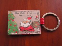 Lebanon Christmas Key Holder, Leather Made, Design Like A Stamp - Xmas
