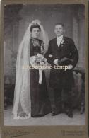 Grand CDV (CAB) Vers 1890 Mariage Où La Mariée Est Tout En Noir-photo Carl Stenzel à Strasbourg (Strassburg) - Old (before 1900)