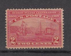 USA 1909 Mi Nr 177 Hudson - Fulton 1609-1909  Ship  Met Plakker - Unused Stamps