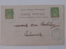 CPA DU LAOS MOREAU  AVEC TYPE GROUPE OBLITERE CACHET BLEU EVIDE DE VENTIANE 1903  INDOCHINE ASIE LETTRE  COVER - Indochina (1889-1945)