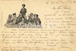 CARTE POSTALE HANOI VIETNAM 1902# PROFESSEUR ET ELEVES ANNAMITES # PHOTO F H SCHNEIDER HANOI - Viêt-Nam