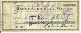 BANCA AGRICOLA DI MATINO,LECCE, ASSEGNO  BANCARIO, 1949, L. 40.000,CON MARCHE DA BOLLO, - Banconote