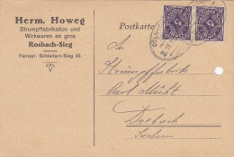 INFLA: DR 2x 230 P MeF Auf Postkarte Mit Bahnpost-Stempel: Cöln-Godesberg ZUG 1646(?) - 8.4.1923 - Infla