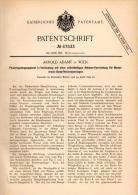 Original Patentschrift -  Arnold Adamy In Wien  , 1892 , Feuer - Regelungsapparat Für Dampfheizungsanlagen . Heizung !!! - Historische Dokumente