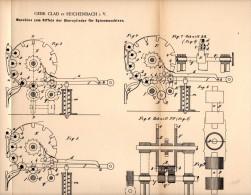 Original Patentschrift - Gebr. Clad In Reichenbach I.V., 1892 , Maschine Zum Riffeln , Spinnmaschine , Spinnerei !!! - Maschinen