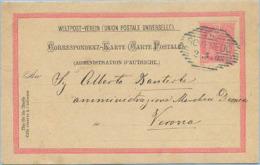 1903 AUSTRIA TERRITORI ITALIANI C.P. Kr.10 CON ANNULLO ESAGONALE ROVEREDO 2.1.03 PER VERONA SPLENDIDA QUALITÀ (C151) - 1900-44 Vittorio Emanuele III