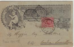Luzzati E Sacerdote, Cartolina Postale Pubblicitaria Moncalvo Per Candia Lomellina. Stile Liberty 1910 - Stamps