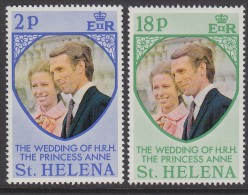 St HELENA, 1973 ROYAL WEDDING 2 MNH - Saint Helena Island