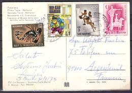 SAN MARINO  CP  Multi Vues     Le13 12 1973   Affranchie Avec 4 Timbres   Pour 95100 ARGENTEUIL - Lettres & Documents