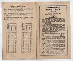 GOLF -TANDRIDGE GOLF CLUB - SURREY ANGLETERRE GRANDE BRETAGNE - CARTON DE POINTS, REGLEMENT - A VOIR - Golf
