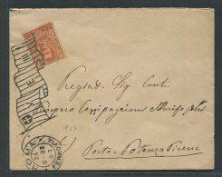 1903   RARA  COVER   REGNO   DA   ROMA FERROVIA   X  PORTO POTENZA PICENA  ANNULLO A BANDIERA - 1861-78 Vittorio Emanuele II