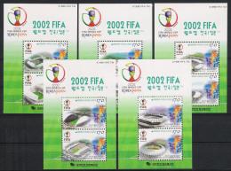 2000 Korea Süd Mi# Bl. 684-688 ** MNH Fußball Football Soccer Sport WM FIFA Korea/Japan-2002 - Fußball-Weltmeisterschaft