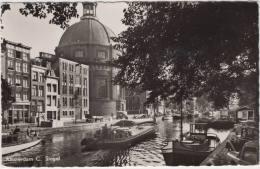 Amsterdam C  - Singel  : Oldtimer AUTO'S & BOTEN/SCHEPEN - Transport  -   Nederland/Holland - Amsterdam