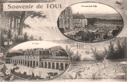 54 SOUVENIR DE TOUL LA GARE ET PANORAMA DE LA VILLE CIRCULEE 1918 - Toul