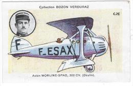 AVIATION - Avion Worline-Spad, 300 Cv (Deulin) - Bozon-Verduras C.26( 7.6x4.8cm Environs) - Trade Cards