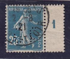 Semeuse 25c N° 140 Perforé Perfin  Sigle C L Millesime 1921 - Perfins