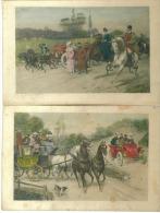 """2 CPA   Estampes D""""art   Fiacres  Automobile  Cavaliers  Vers 1900 - Taxi & Carrozzelle"""