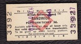 Railway Platform Ticket SANDWICH BRB(S) Red Diamond Edmondson - Railway