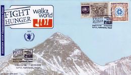 WFP FIGHT WORLD HUNGER WALK THE WORLD COMMEMORATIVE COVER NEPAL 2006 MINT - Contro La Fame