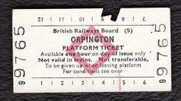 Railway Platform Ticket ORPINGTON BRB(S) Red Diamond Edmondson - Railway