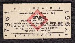 Railway Platform Ticket STAINES BRB(S) Red Diamond Edmondson - Railway