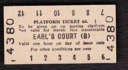 Railway Platform Ticket EARL'S COURT (B) London Transport Edmondson - Railway